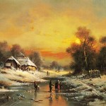 Gallery Stretched Reproduction Oil Acrylic Landscape Painting Winter