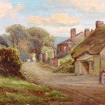 Galmpton Post Office Nera Hope Antique Oil Painting