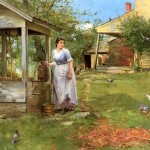 Garden Scenery Oil Painting The Well