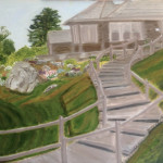 George Bush Painting Winding Staircase Leading House