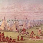 George Catlin Paintings Comanchee Village Painting