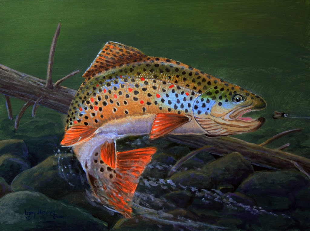 German Brown Trout Caddis Fly Nymph Oil Painting Gary Keimig