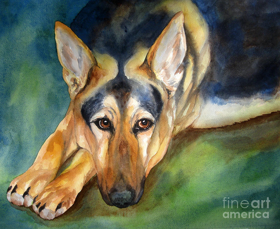 German Shepherd Painting Cherilynn Wood Fine Art