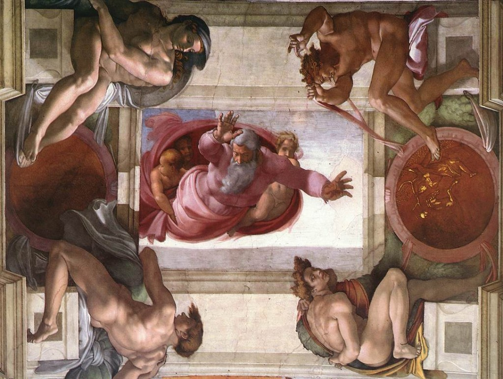 God Dividing Land And Water Michelangelo Wikipaintings