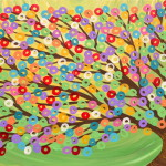 Gold White And Pink Abstract Tree Painting Canvas