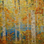 Golden Autumn Original Abstract Acrylic Painting Stretched