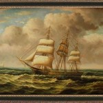 Hand Oil Painting Seascape Old Ship Art Canvas Ebay Sort