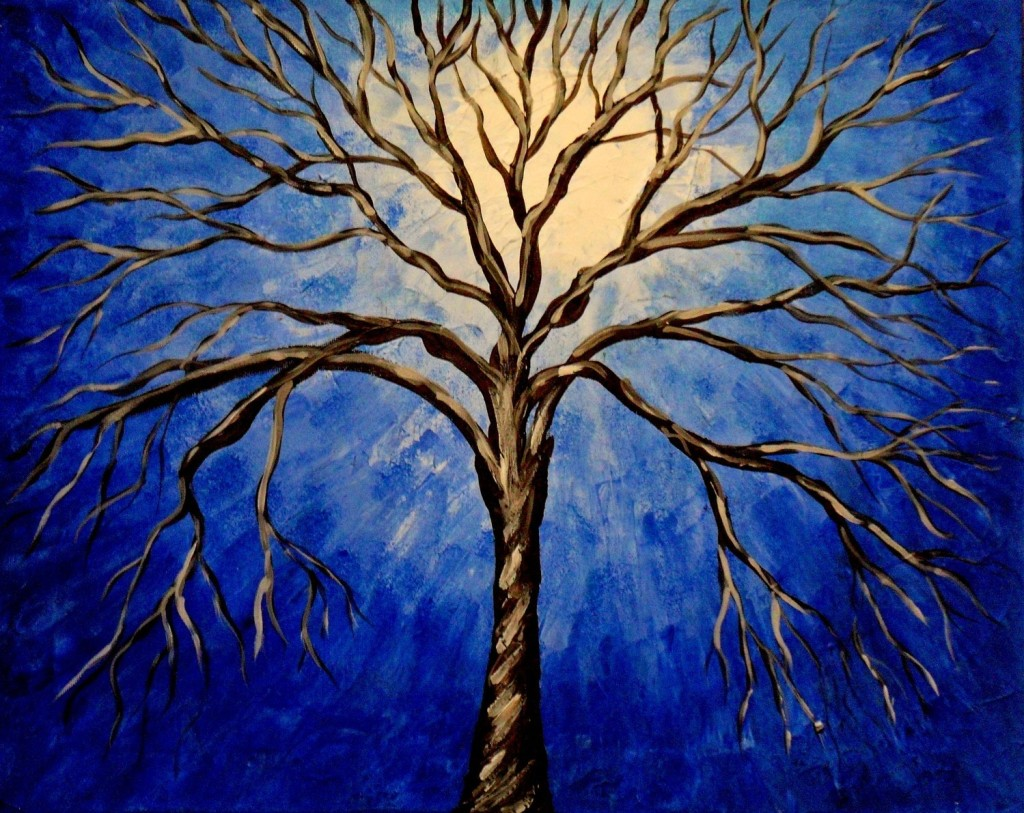 Hand Painted Abstract Oil Painting Night Tree