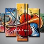 Hand Painted Discount Framed Abstract Music Paintings Wall Art Canvas