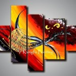 Hand Painted Discount Framed Oil Painting Flower Abstract Art Canvas