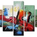 Hand Painted Musical Instrument Oil Paintings Wall Decor Painting
