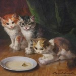 Hand Painted Oil Painting Reproduction Canvas Cat
