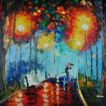 Hand Painted Signed Knife Oil Painting Park Trees Night Rain
