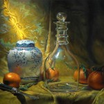 Hand Painted Still Life Oil Painting Four Oranges