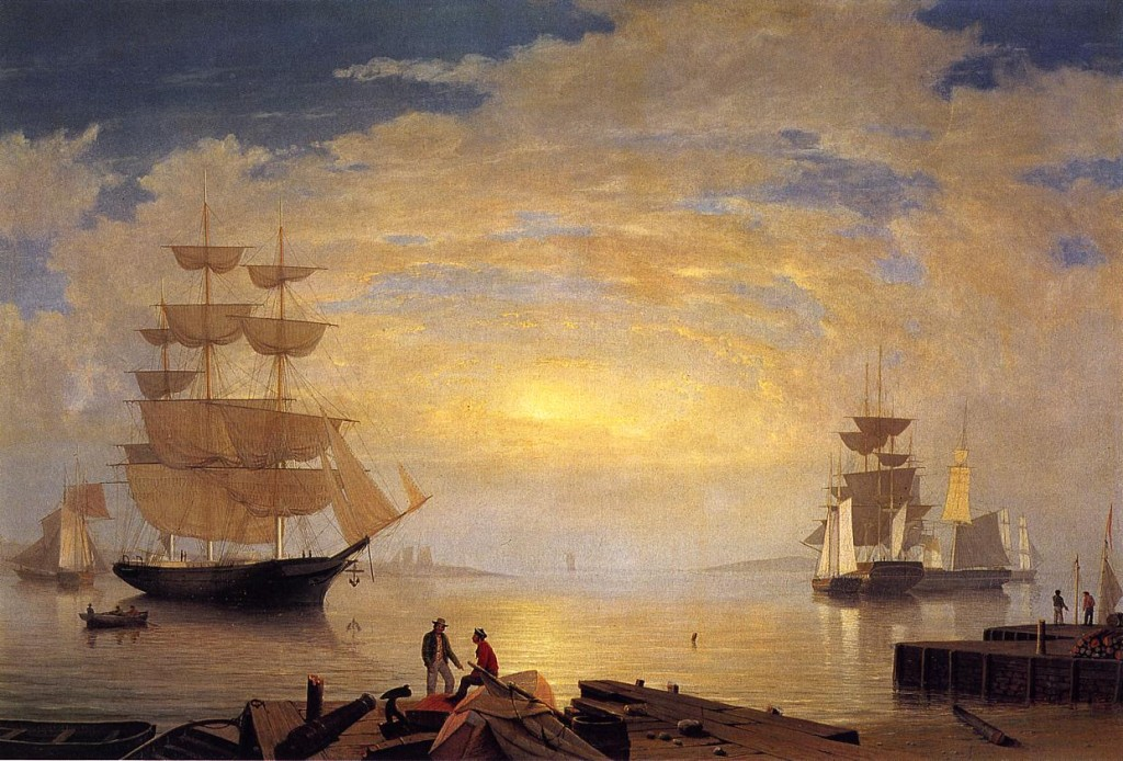 Harbor Sunrise Painting Fitz Hugh Lane Oil