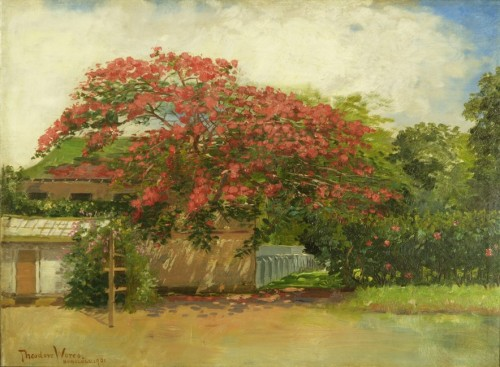 Hawaiian House Oil Canvas Painting Theodore Wores
