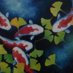 Hellenne Vermillion Art More Koi Fish And Gingko Leaves