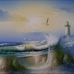 High Hand Painted Oil Paintings Seaside Lighthouses Pcs