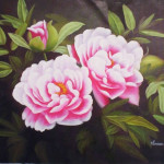 High Quality Flower Oil Painting Blossoming Pink Flowers