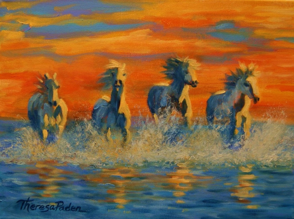 Horses The Sea Sunset Contemporary Horse Painting