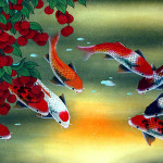 Huge Koi Fish And Lychee Fruit Painting Asian Paintings