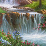 Huge Waterfall River Forest Landscape Oil Painting Art Canvas