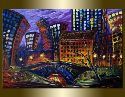 James Saenz Cityscape Original Paintings Canvas Painting