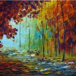 James Saenz Original Abstract Oil Painting Autumn Paintings
