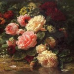 Jean Baptiste Robie Floral Still Life Oil Painting Reproduction