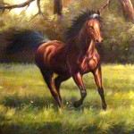 Jewelry Original Hand Painted Oil Painting Horse Motion