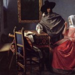 Johannes Vermeer Lady Drinking And Gentleman Oil