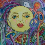 Just Give Peace Moon Over River Singleton Hippie Art