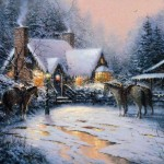 Kinkade Christmas Welcome Painting Framed Paintings For Sale