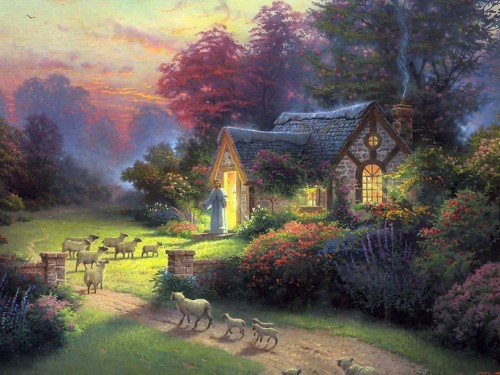 Kinkade The Good Shepherd Cottage Painting Best Paintings For Sale
