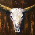 Large Cow Skull Acrylic Palette Knife Painting