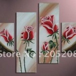 Large Wall Art Flower Red Rose Painting Canvas Picture