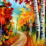 Leonid Afremov Paintings White Birches Painting