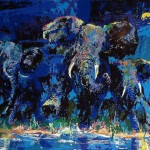 Leroy Neiman Paintings Elephant Nocturne Painting
