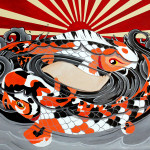 Little Sticky Fingers Koi Fish Painting Print Customized Hand