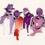 Live Music Audience Ink Watercolor Chris Carter Artist Web