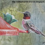 Maas Art Hummingbird Feeder Oil Painting