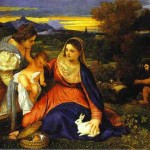 Madonna And Catherine Rabbit Titian Paintings