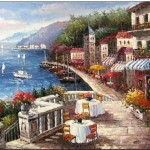 Mediterranean Oil Painting Cafe The Riviera