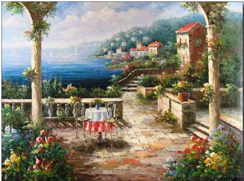Mediterranean Oil Painting Terrace The