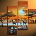 Modern Abstract Huge Wall Art Oil Painting Giraffe Framed Ebay