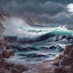 Moonlit Surf Oil Canvas Seascape Paintings Moonlight