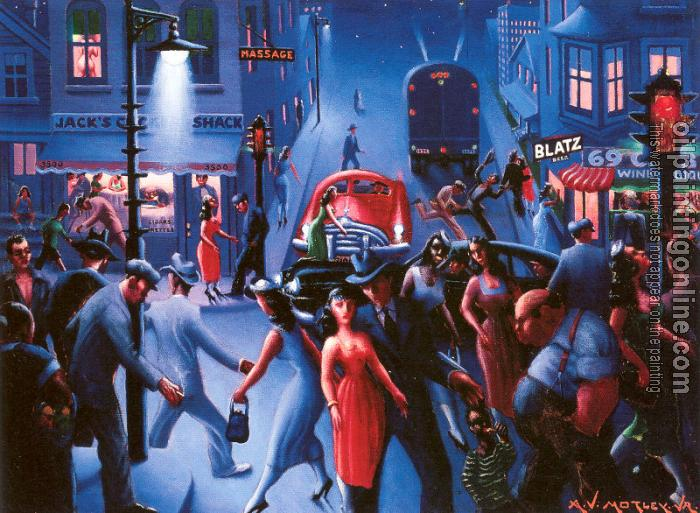 Motley Archibald Bronzeville Night Canvas Painting For