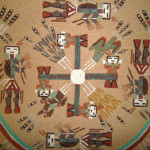 Native American Navajo Sand Art Painting Framed And Matted