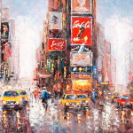 New York City Streets Time Square Taxi Oil Painting Lin