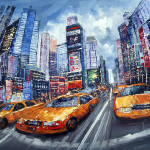 New York Taxi Painting High Textured Oil